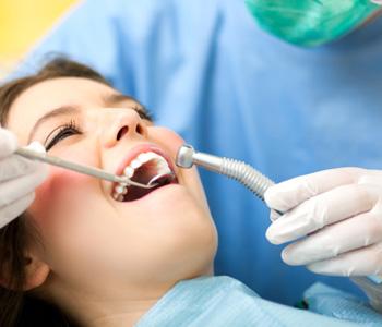 A patient having a dental surgery