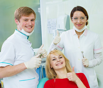 Patient with two dentist