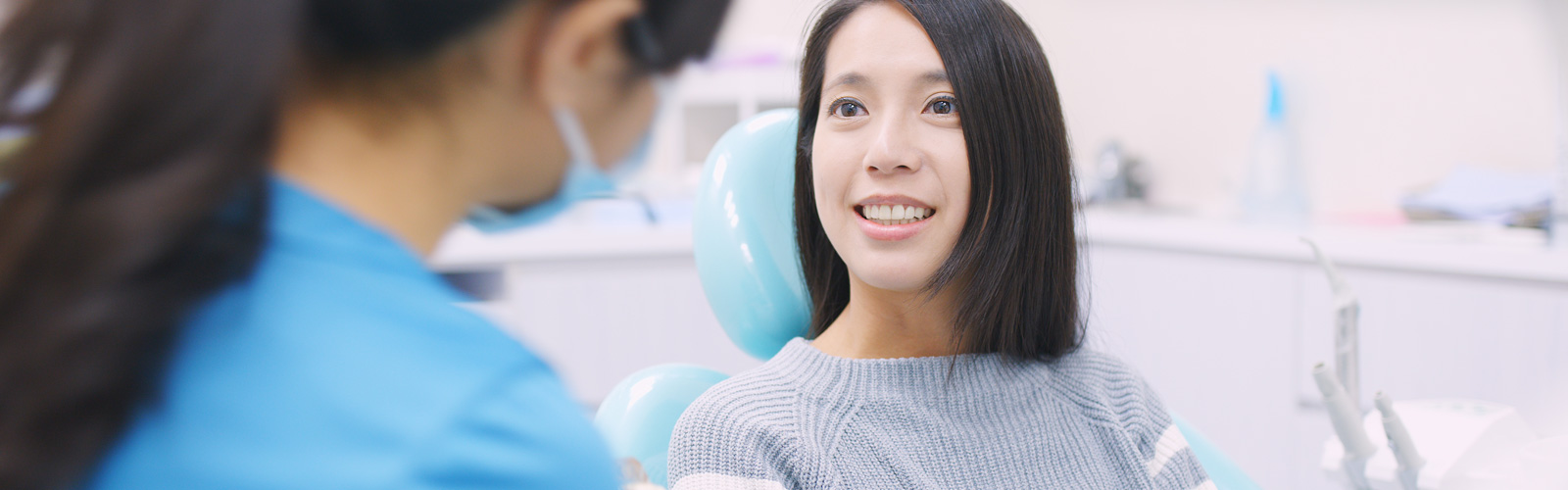 A woman with a dentist