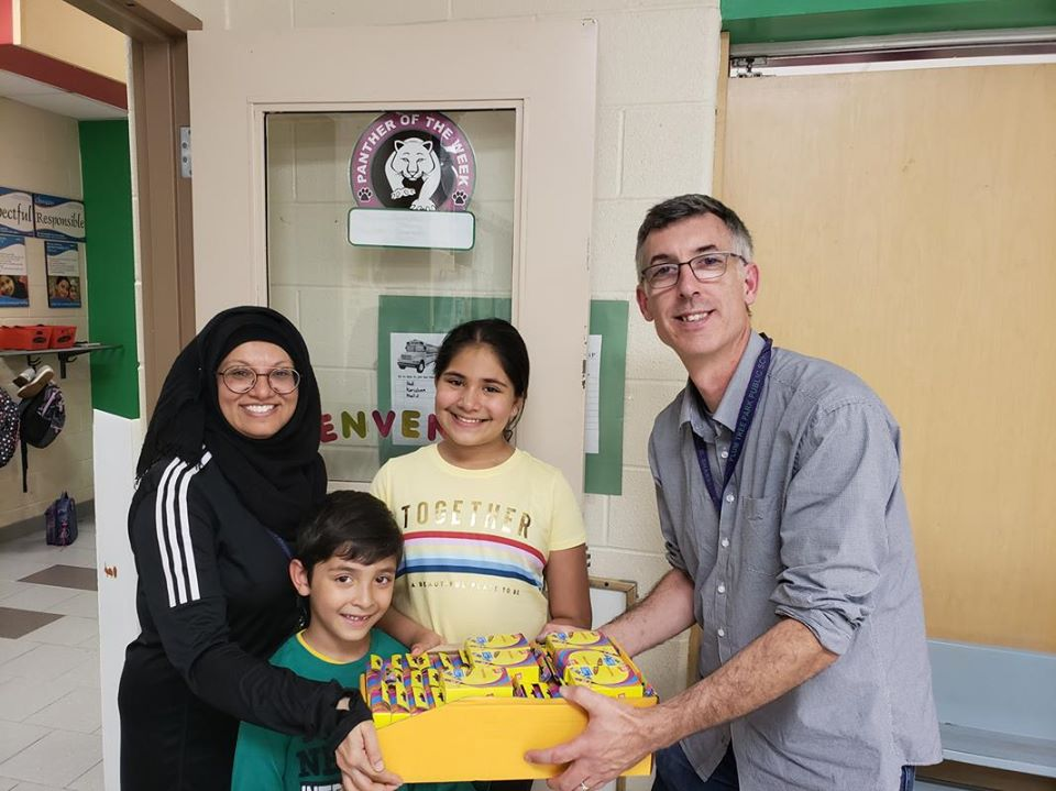 Boxes of Crayons donated to Plum Tree Public School in Mississauga